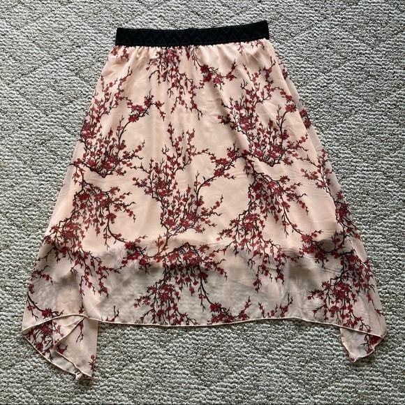 LuLaRoe Light Peach Pink & Floral Skirt Large